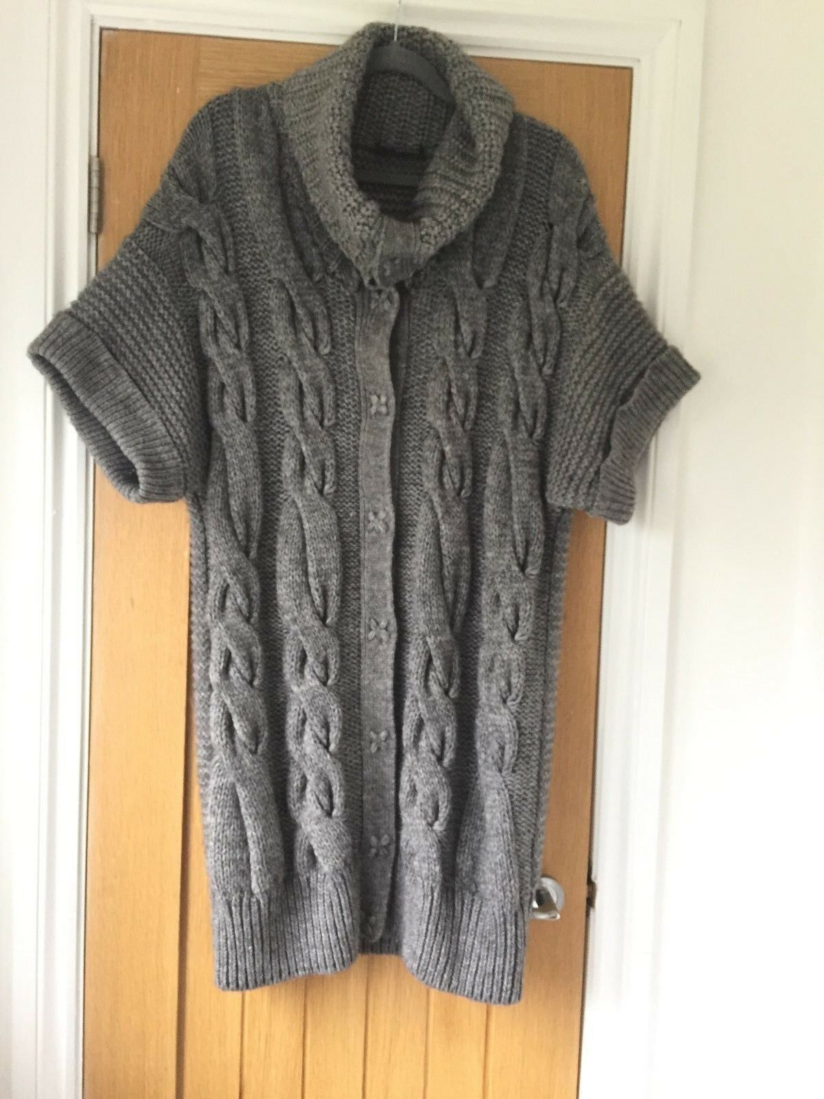 M&S M&S M&S Autograph chunky cable knit alpaca wool long grey maxi cardigan - 12-14 2c3444