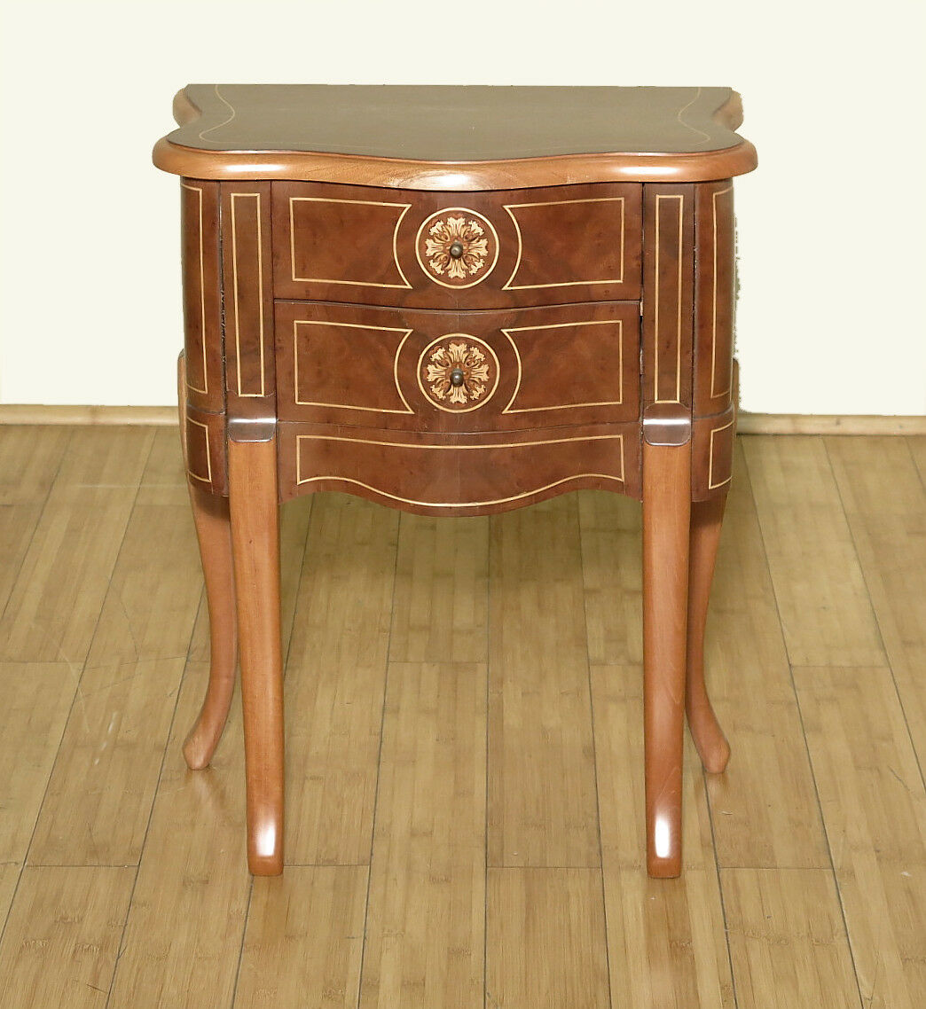 Vintage Small Inlaid 2 Drawer Nightstand Bedside Table F  : s l1600 from www.ebay.com size 1044 x 1138 jpeg 161kB