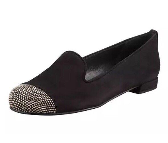 Stuart Weitzman Women's Lingo Stud Black Detail Black Stud Suede Loafers 3234 Sz 7 N $350 d0a7bc