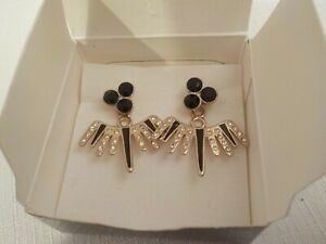 Black and Gold Crackled Glass Earrings