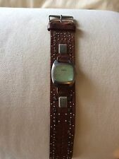 VINTAGE WOMENS FOSSIL WATCH WIDE 16MM BROWN LEATHER BAND