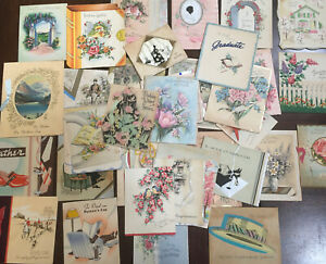 44-Vintage-Greeting-Cards-30-s-40-s-50-s-60-s-Assorted-Mom-Dad-Flowers-NICE