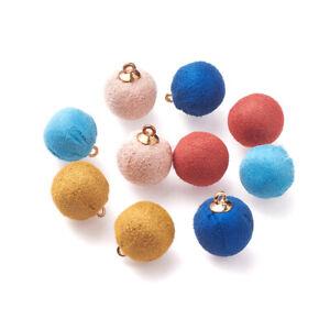 50pc Handmade Cloth Fabric Covered Pendants Round Mini Pompom Ball Charm 23~24mm
