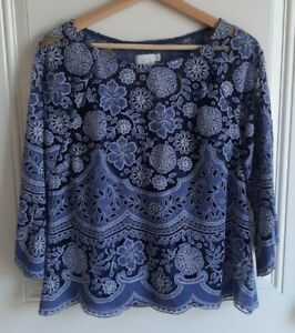 HD-In-Paris-Anthropologie-Womens-Blue-Lace-Montmartre-Peasant-Top-Blouse-Size-6
