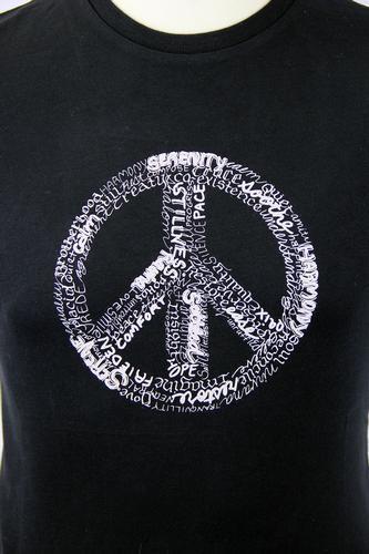 SALE Small h165 LAMBRETTA 60s JONI JAMES CND PEACE WORD ART T-SHIRT BLACK