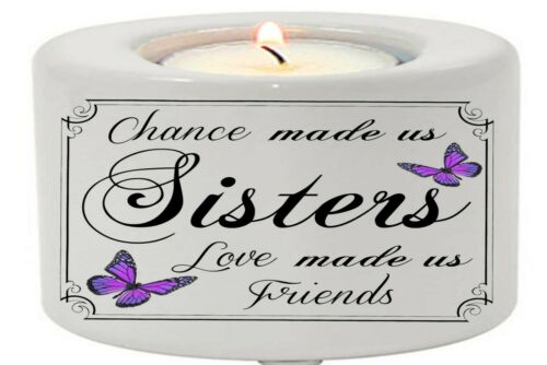 Ceramic Tea Light Candle Holder SŒURS par hasard amis par choix cadeau