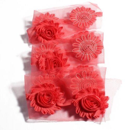 "10yards 2.6/"" Chic Shabby 3D Fabric Chiffon Flowers For Headbands"