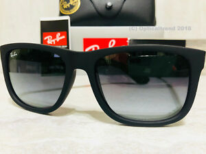 Ray-Ban Men s Justin RB4165-601 8G-55 Black Frame Grey Lens Wayfarer ... 4b4ee232d9