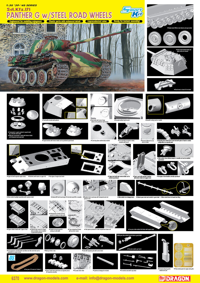 1 35 Dragon Sd.Kfz.171 Panther G w Steel Road Wheels