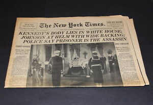 New York Times Section 1 November 24 Th 1963 Kennedy S Body Lies In White House Ebay