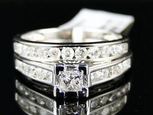 Womens-White-Gold-Princess-Cut-Genuine-Diamond-Engagement-Ring-Set-Bridal-1-Ct