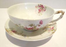 LIMOGES Antique Cup & Saucer Plate Shaby Roses Haviland France GDA Art Craft DIY