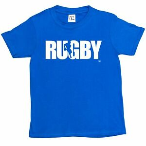 1Tee Kids Boys Rugby Player Silhouette T-Shirt