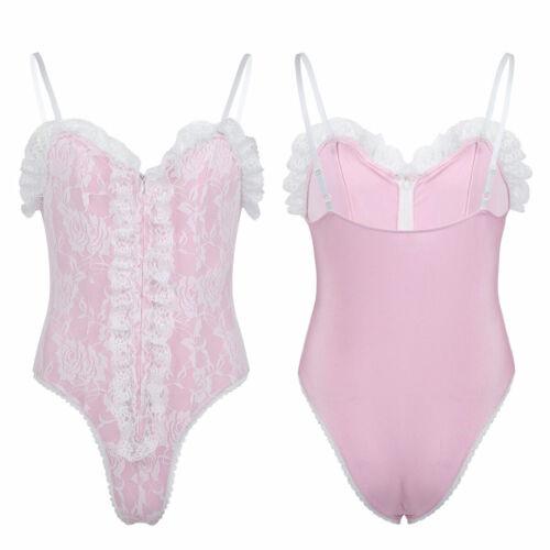 Men Sissy Lingerie High Cut Thong Bodysuit Jumpsuit Leotard Underwear Nightwear