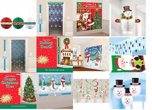 Christmas-amp-Winter-Party-Supplies-Swirls-Honeycomb-Scene-Setters-Snowman-Strings
