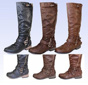 Chapter-13-New-Fashion-Knee-High-Zipper-Buckles-Low-Heel-Comfort-Women-039-s-Boots
