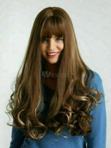 100% Real hair! New Fashion Beautiful Women's Long Brown Wavy Human Hair Wigs
