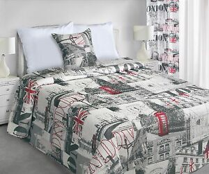 Matching Bedspread Curtain Panel Pillowcase with LONDON Pattern