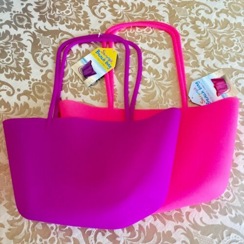 Pink or Purple Silicone Scrunch Beach Bag in 2 colours
