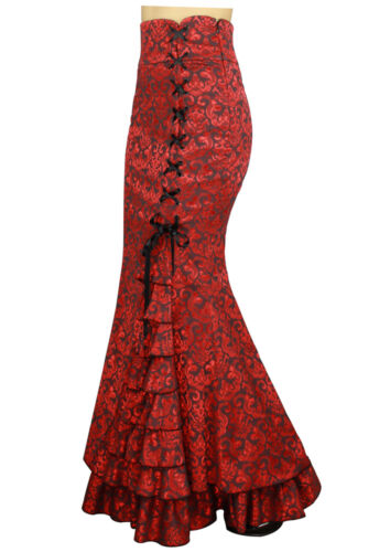 Plus Size Red Gothic Mermaid Jacquard Fishtail Ruffles Skirt 1X 2X 3X 4X