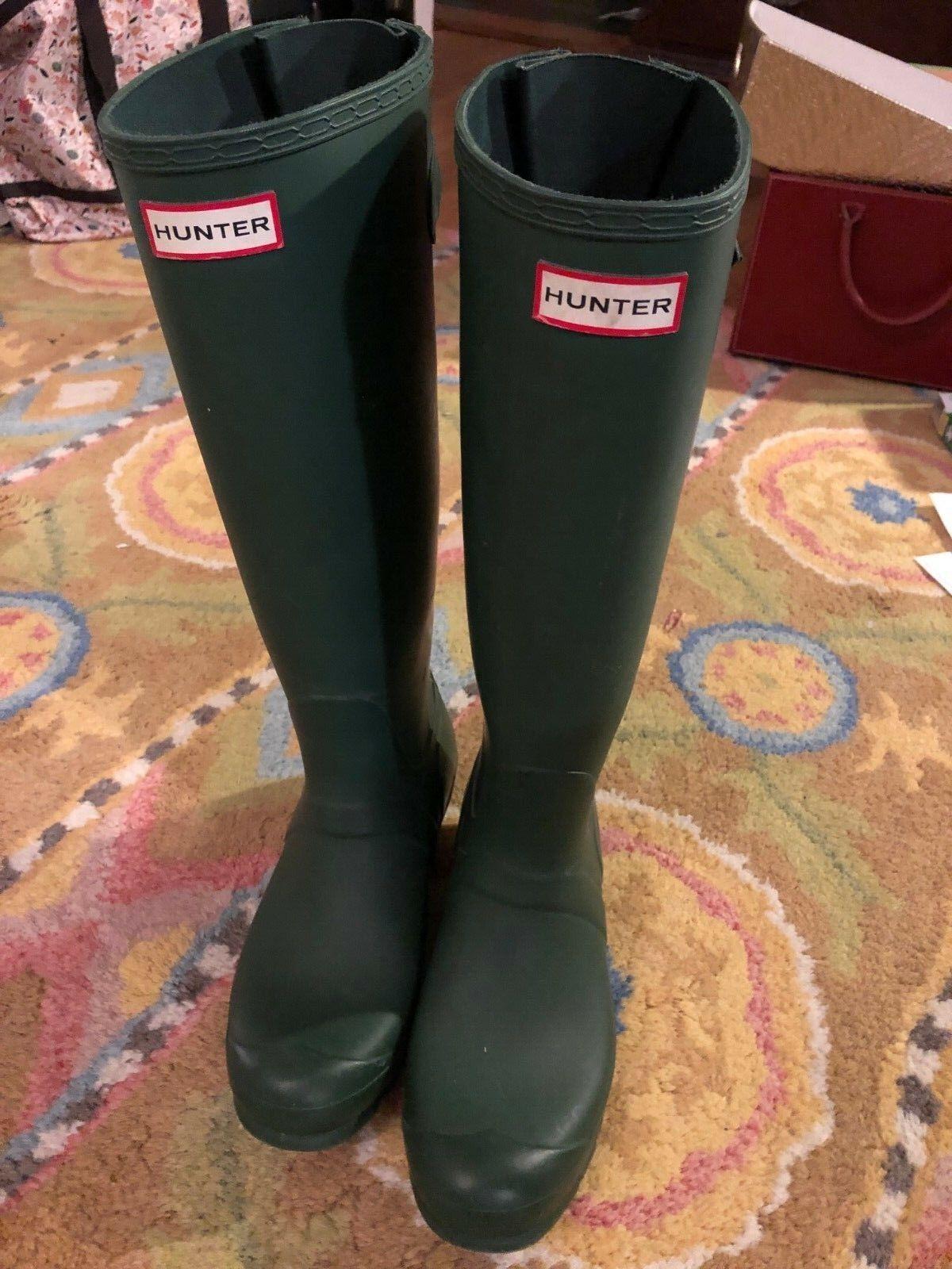 Hunter Original Tall Mujer verde botas de lluvia   100% resistente al agua   Tamaño 9