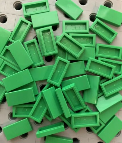 Lego Bright Green 1x2 Flat Tiles Smooth Finishing Tile Buildings Floor Lot Of 50