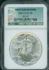 1986 American Eagle Dollar NGC MS-69