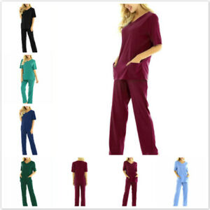 Unisex Adults Medical Doctor Nursing Scrubs Costume Uniform Suits Top Long Pants