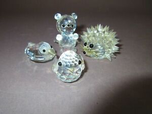 Lot-Four-Faceted-Swarovski-Art-Crystal-Animal-Figurines-Porcupine-Duck-Bird-Bear