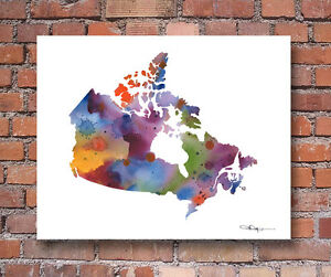 Details About Canada Map Contemporary Watercolor Abstract Art Print By Artist Djr