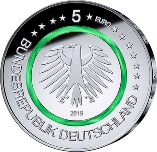 Germany 25 x 5 Euro temperate zone 2019 Green Polymer ring in role SKX D