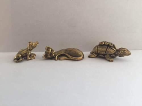 3 LOT Figuren FROSCH SCHILDKRÖTE KATZE amulett miniatur Messing Asean
