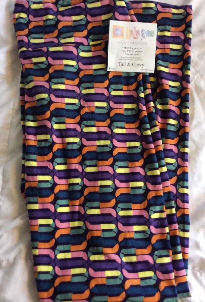 Lularoe TC Tall Curvy Leggings Shapes Link Toys Purple Unicorn Pants New Plus