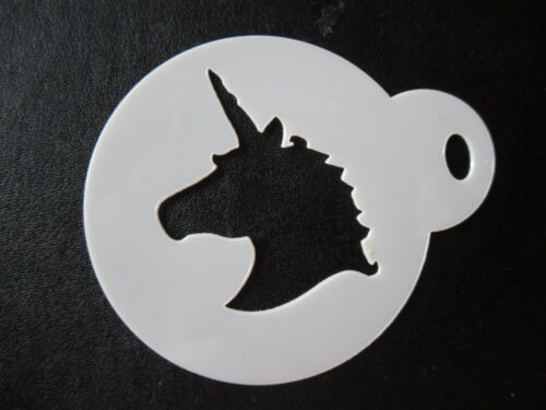 craft /& face painting stencil 60mm unicorn head design cake cookie