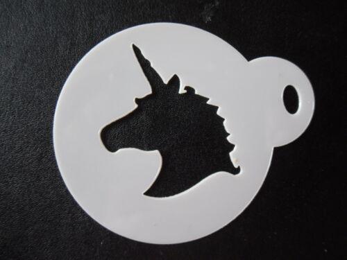 craft /& face painting stencil 60mm unicorn head design cake cookie