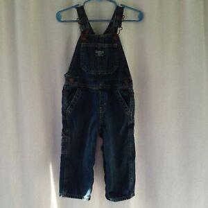 Oshkosh-B-039-Gosh-boys-overalls-size-18-months-blue-denim-vestbak-coveralls-EUC