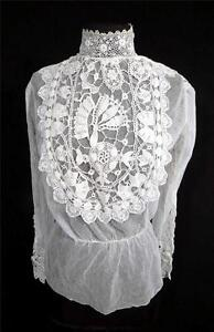 RARE-ANTIQUE-FRENCH-VICTORIAN-WHITE-COTTON-NET-AND-LACE-BLOUSE-SIZE-36-38