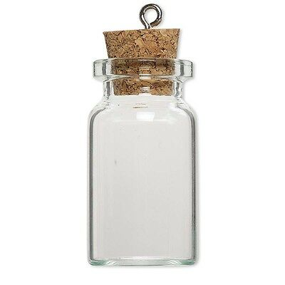 10 Little Clear Glass Bottle Keepsake Jar Charm Pendants W/ Cork Lid Silver Loop