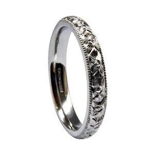 Q 3mm 9ct White Gold Flat Court Wedding Ring Heavy 3.1g Band UK Hallmarked H