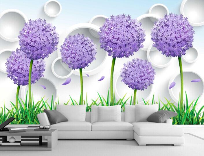 3D purple bluemenkugel 1555 Fototapeten Wandbild Fototapete BildTapete Familie