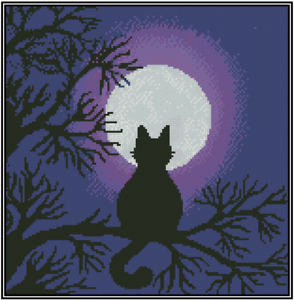 BLACK CAT Counted Cross Stitch Kit OVEN