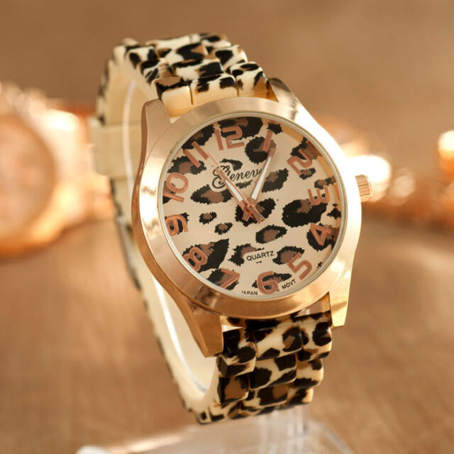Geneva Women men Unisex Wrist Watch Leopard Silicone Quartz Analog Gold watch