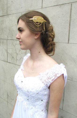 Gold Art Deco Rhinestone Bead Hair Comb Vintage 1920s Flapper Bridal 1930s 4AU