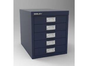 Image Is Loading Bisley Filing Cabinet 5 Drawer Blue Brand New