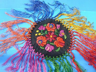 MATYO traditional HUNGARIAN SILK EMROIDERED small  TABLE CLOTH with fringe