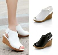 Women Ladies Slingbacks Wedge Heels High Platform Peep-Toe Sandals Shoes