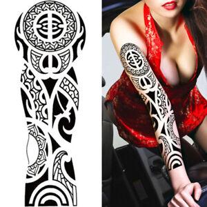 Black Tribal Women Men Polynesian Temporary Tattoo Arm Sleeve Large