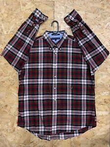 Men-039-s-Vintage-Tommy-Hilfiger-Long-Sleeve-Flannel-Shirt-XL-Check