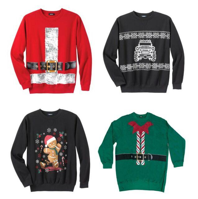 Holiday Fun Fleece Reindeer Head Santa Sweatshirt Big /& Tall Sizes Christmas