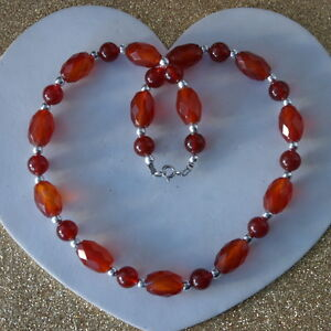 Beautiful-Necklace-With-Faceted-Carnelian-38-Grams-16-034-Inches-Long-In-Gift-Box